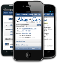Mobile insurance website for Alder & Cox Insurance at m.aldercox.com